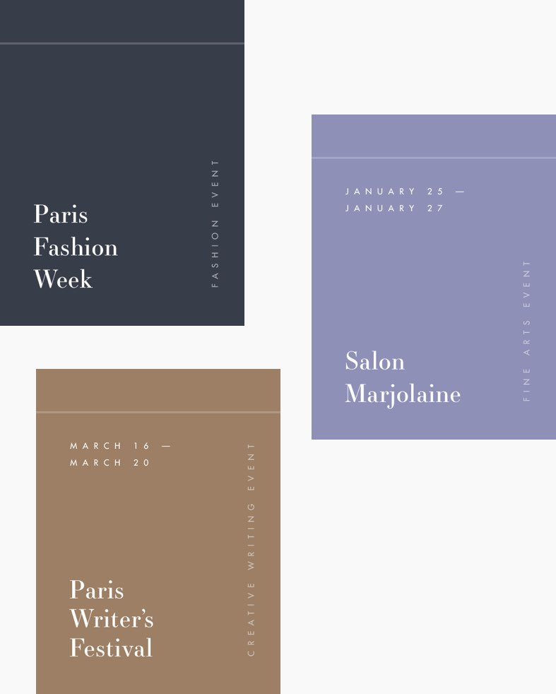 Event cards featured on the Paris American Academy website