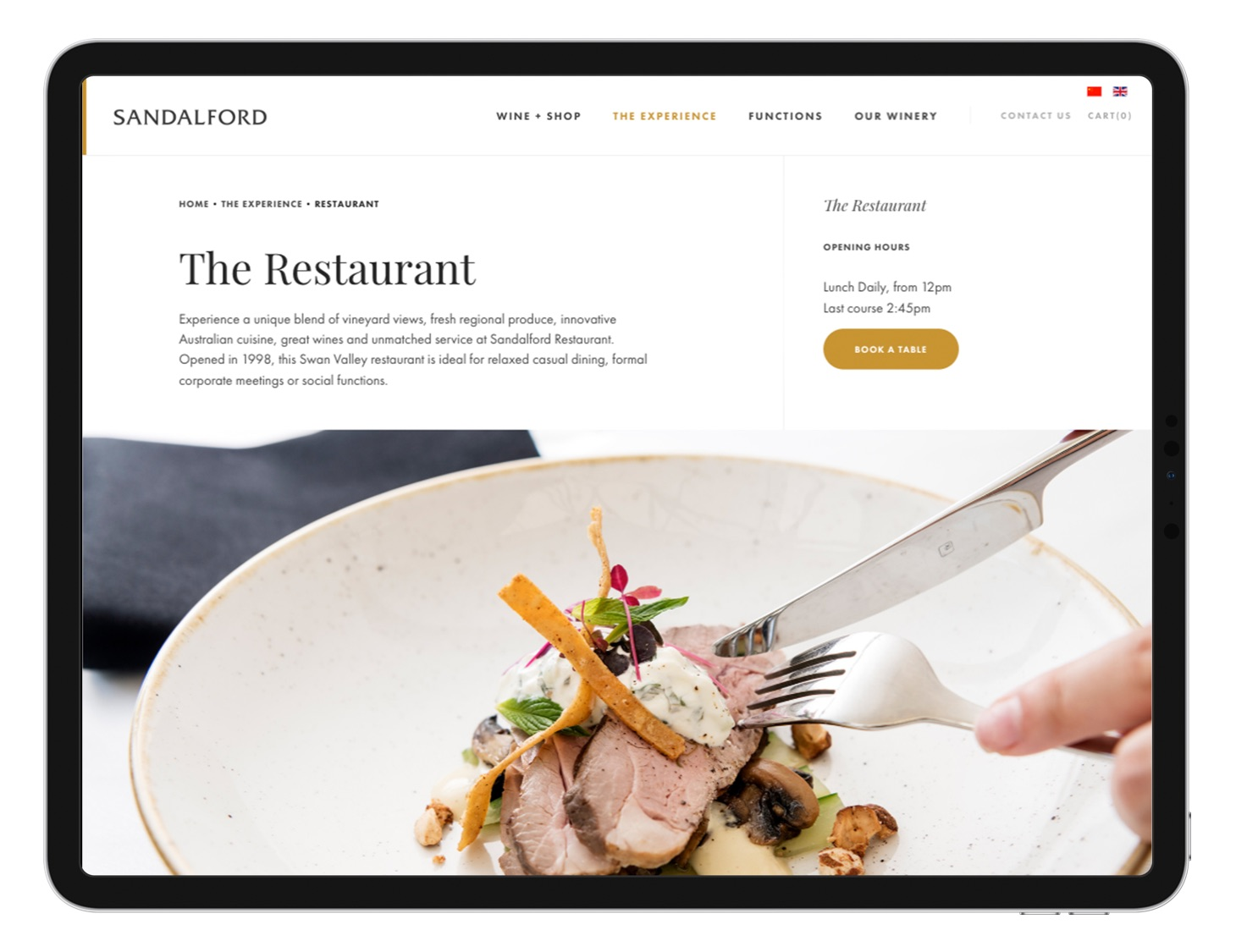 ipad device with Sandalford restaurant page