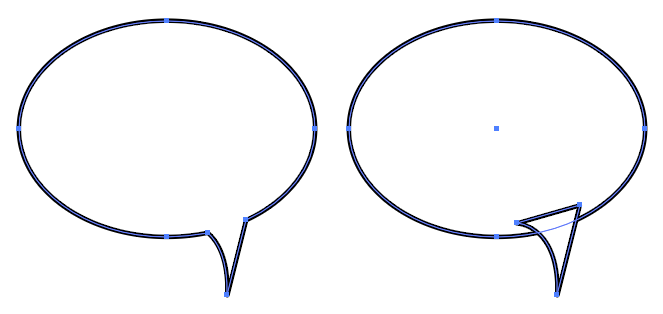 Two speech bubble shapes each outlined in black, showing their Bézier nodes in blue.