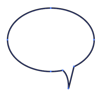 Speech bubble outlined in black. The tail is short, anchored to the bottom right side of the oval bubble, pointing downwards and curving inwards.